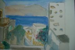 Akvarel i passepartout, Leros, Grækenland