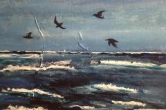 Havbillede med fugle